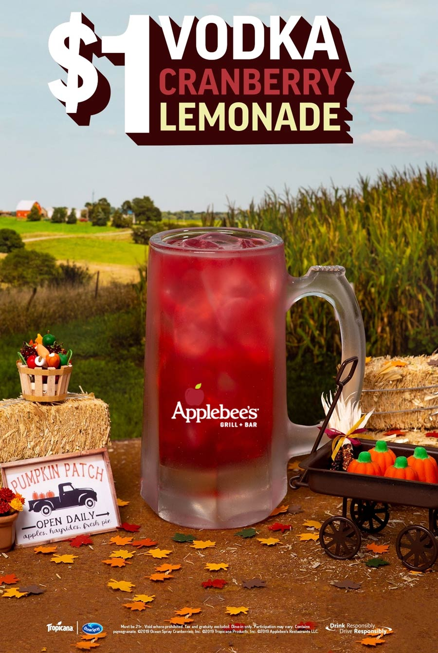 Applebees Coupon January 2020 $1 vodka lemonade at Applebees restaurants