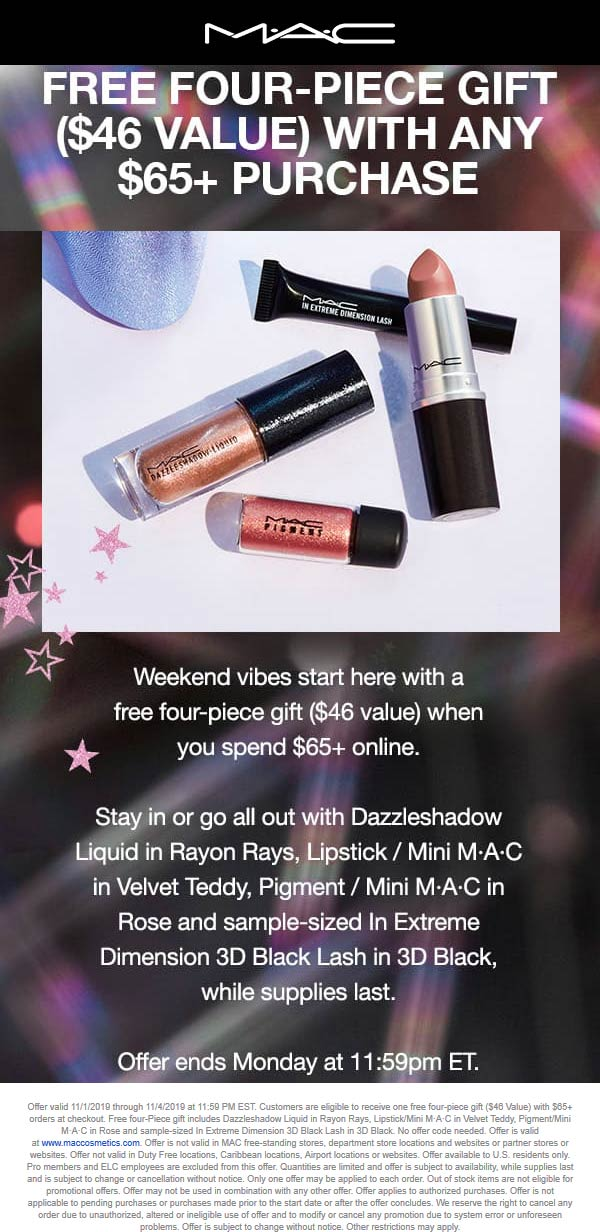 MAC Coupon January 2020 Free 4pc set with $65 spent online at MAC cosmetics