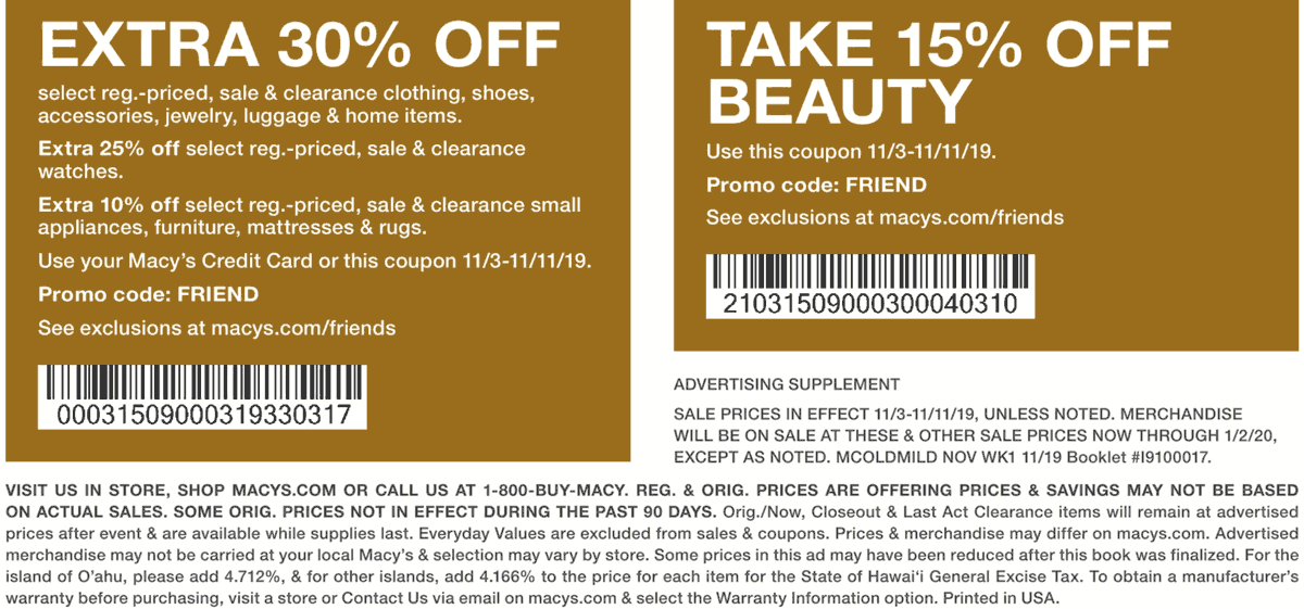 Macys Coupon January 2020 Extra 30% off at Macys, or online via promo code FRIEND