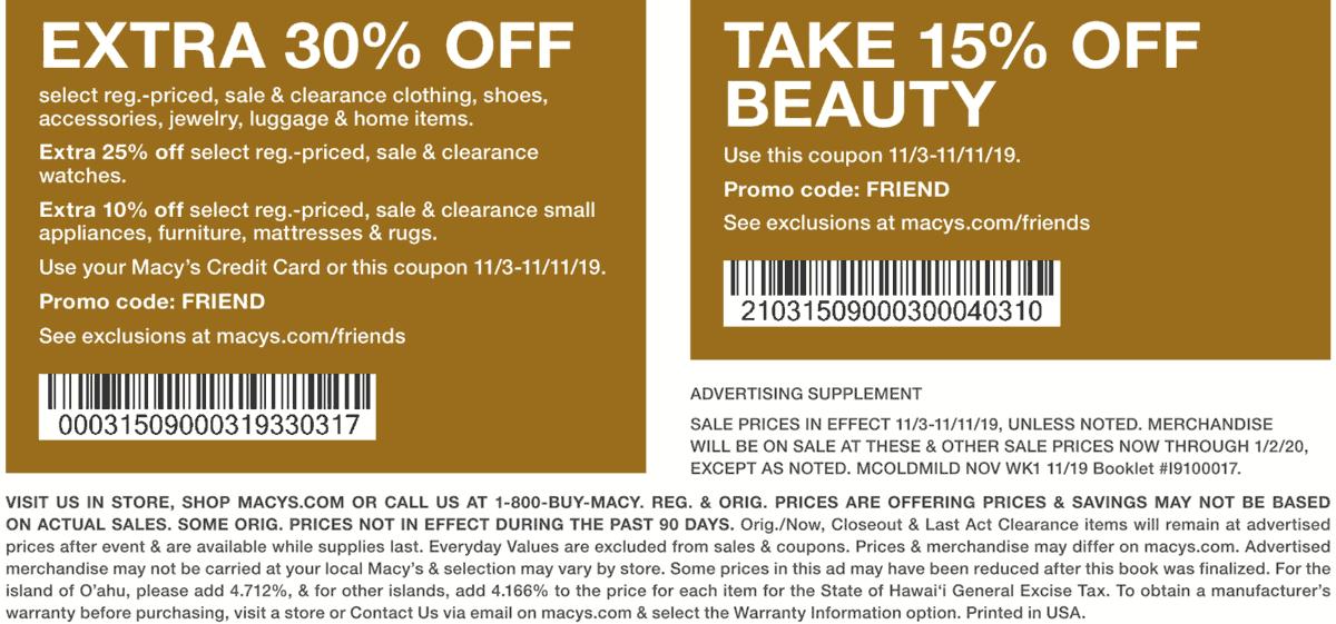 Macys Coupon November 2019 Extra 30% off at Macys, or online via promo code FRIEND