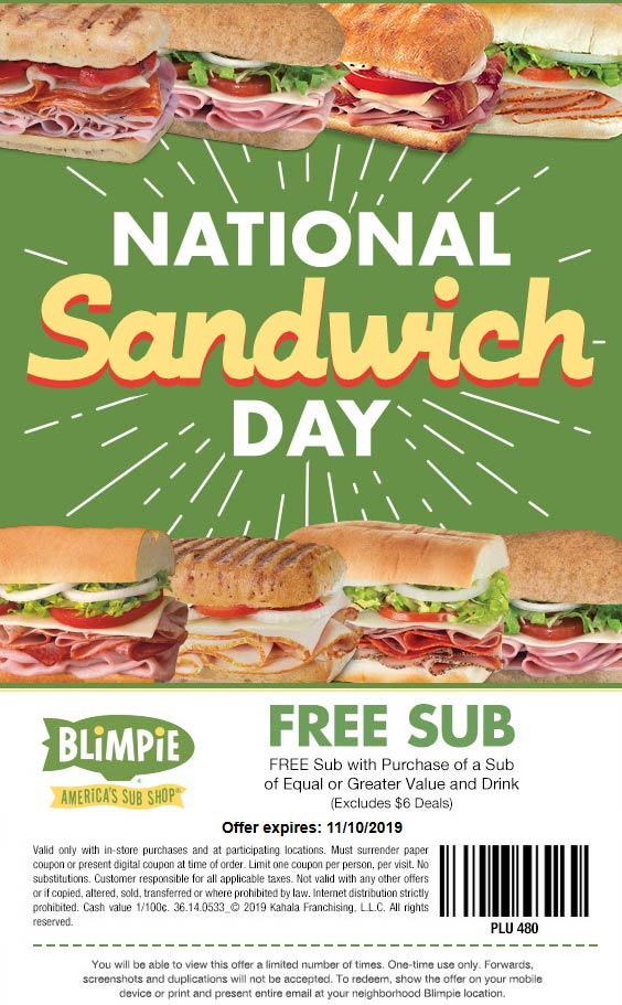 Blimpie Coupon November 2019 Second sub sandwich free at Blimpie