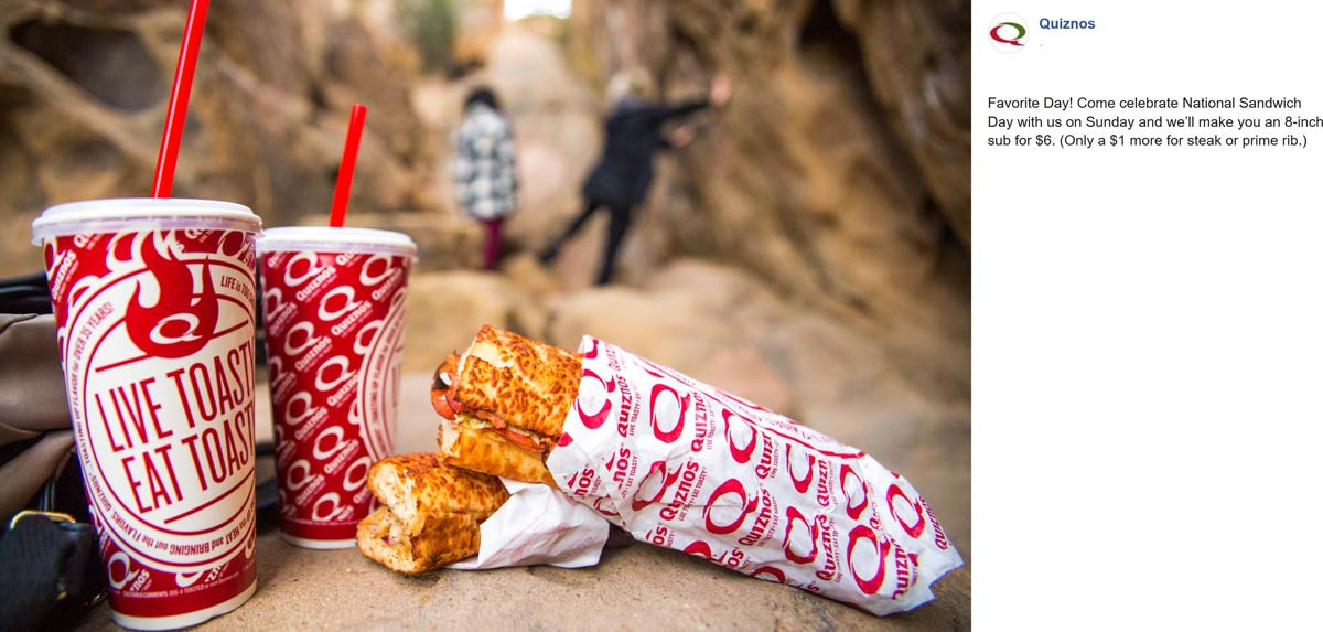 Quiznos Coupon November 2019 $6 large sub sandwich today at Quiznos