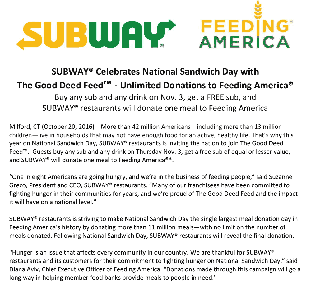 Subway Coupon January 2020 Second sub sandwich free today at Subway