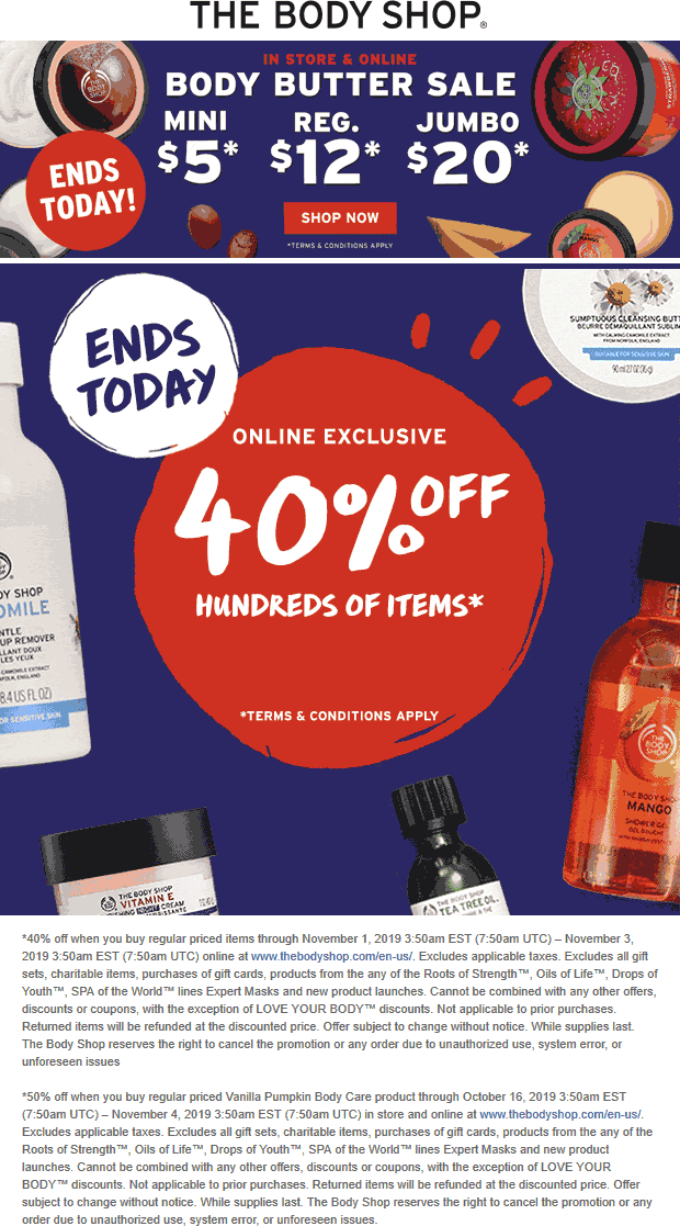 The Body Shop Coupon November 2019 40% off online today at The Body Shop
