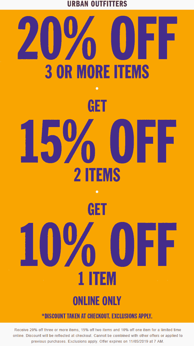 Urban Outfitters Coupon January 2020 10-20% off online at Urban Outfitters