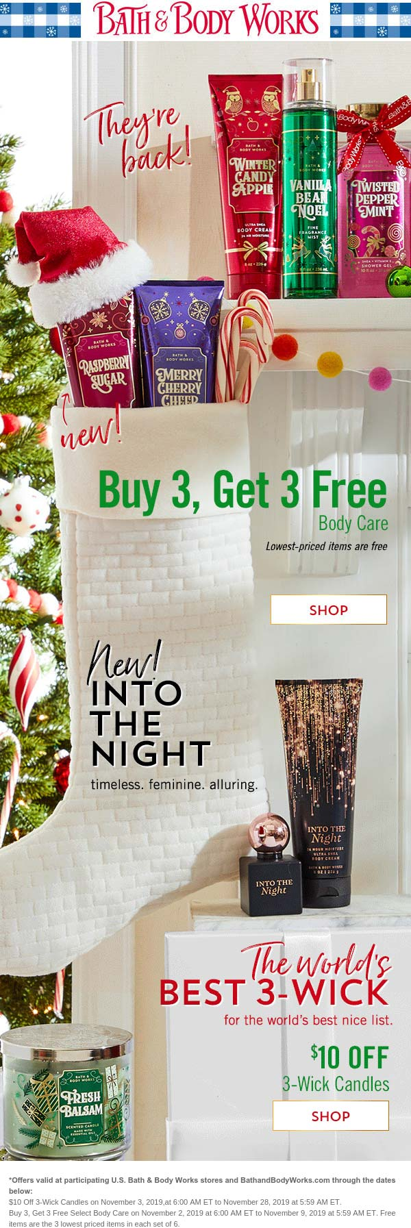 Bath & Body Works Coupon November 2019 6-for-3 on body care & $10 off 3-wick candles at Bath & Body Works, ditto online