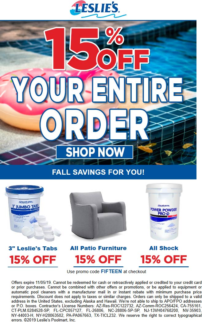 Leslies Pool Supplies Coupon November 2019 15% off at Leslies Pool Supplies, or online via promo code FIFTEEN