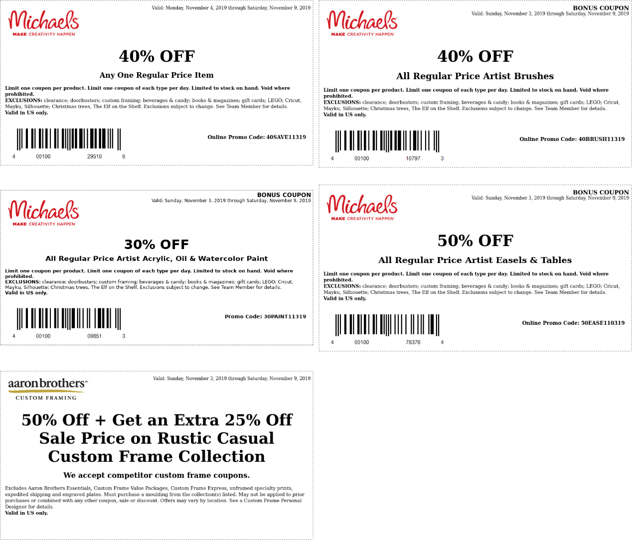Michaels Coupon January 2020 40% off a single item at Michaels, or online via promo code 40SAVE11319