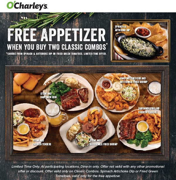 OCharleys Coupon January 2020 Free appetizer with your entrees at OCharleys