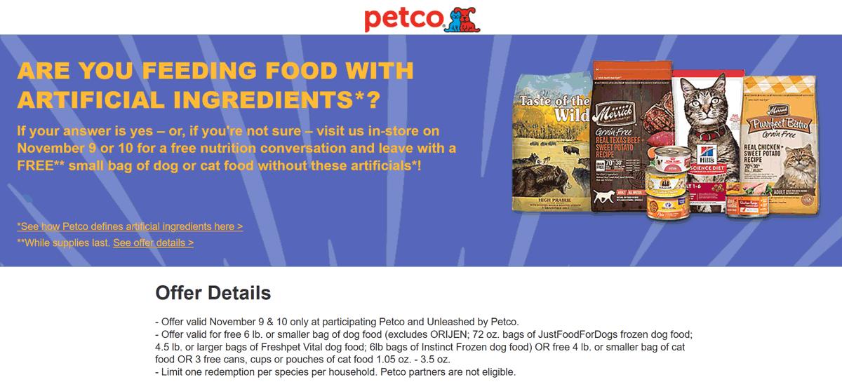 Petco Coupon November 2019 Free 6lb bag of pet food the 9-10th at Petco