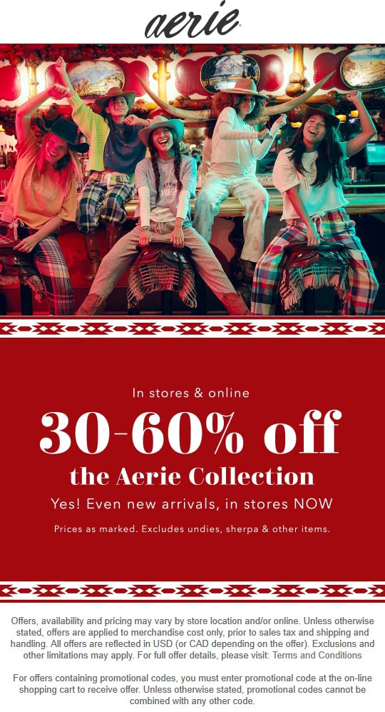 Aerie Coupon January 2020 30-60% off the collection at Aerie, ditto online
