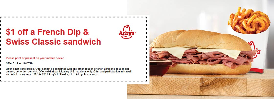 Arbys Coupon November 2019 $1 off a French dip sandwich at Arbys