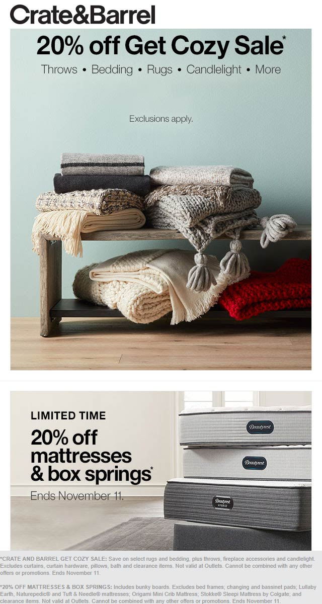 Crate & Barrel Coupon January 2020 20% off cozy items at Crate & Barrel, ditto online