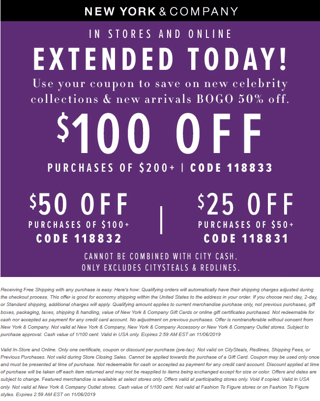 New York & Company Coupon November 2019 $50 off $100 & more today at New York & Company, or online via promo code 118832