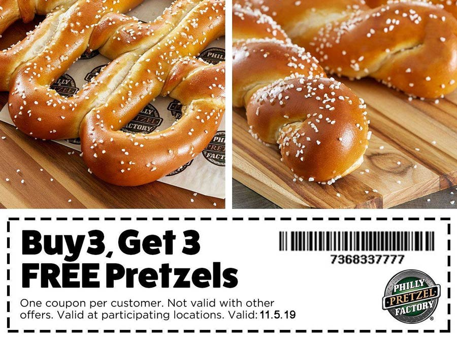 Philly Pretzel Factory Coupon November 2019 6-for-3 today at Philly Pretzel Factory restaurants