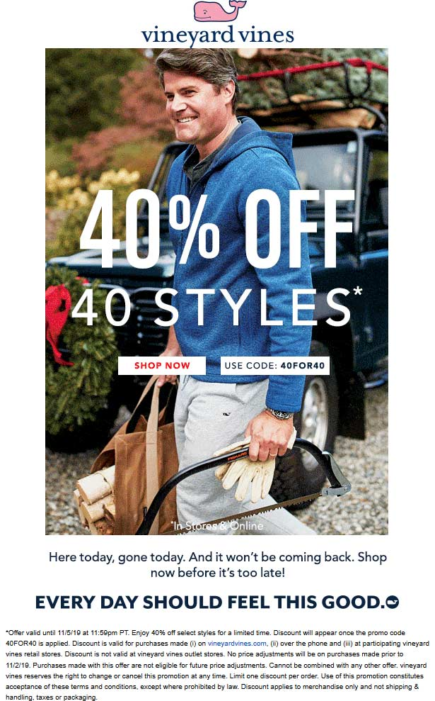 Vineyard Vines Coupon January 2020 40% off today at Vineyard Vines, or online via promo code 40FOR40