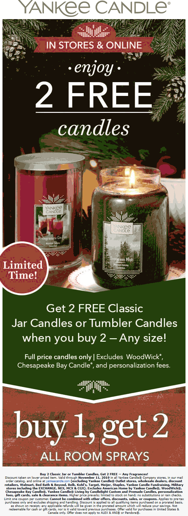 Yankee Candle Coupon November 2019 4-for-2 on candles & 3-for-1 room sprays at Yankee Candle, ditto online