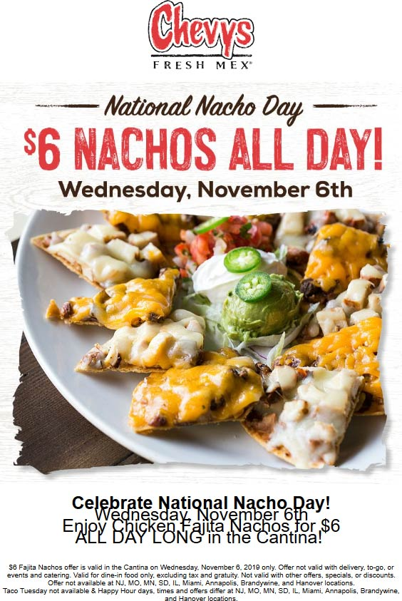 Chevys Coupon January 2020 $6 nachos today at Chevys Fresh Mex