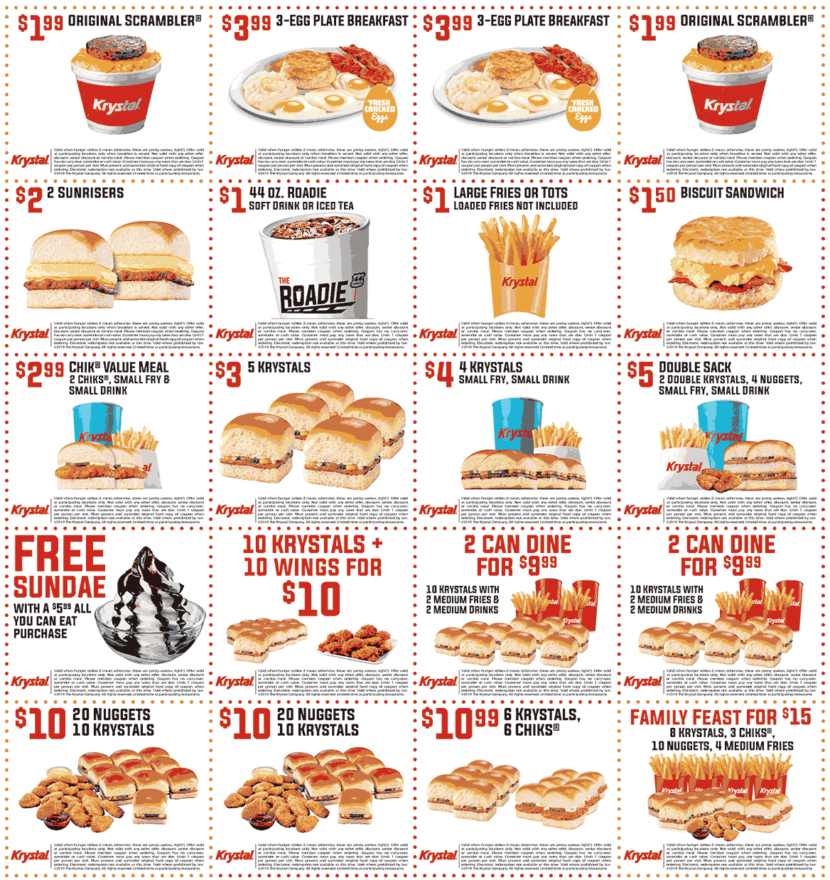 Krystal Coupon January 2020 5 burgers for $3 & more at Krystal restaurants