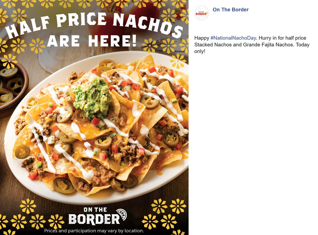 On The Border Coupon November 2019 50% off nachos today at On The Border restaurants