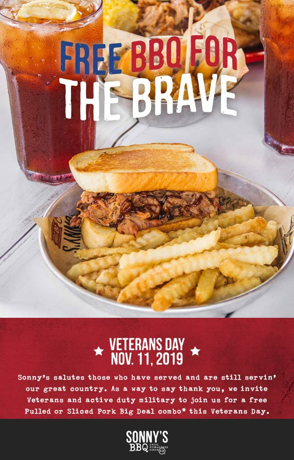 Veterans Coupon November 2019 Active & veterans enjoy a free combo meal Monday at Sonnys BBQ