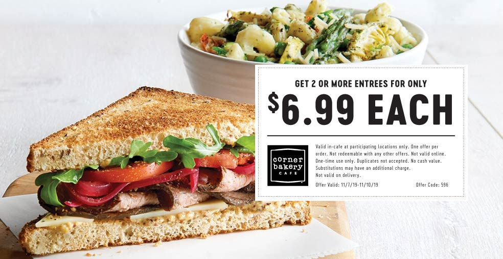 Corner Bakery Coupon November 2019 $7 entrees at Corner Bakery Cafe