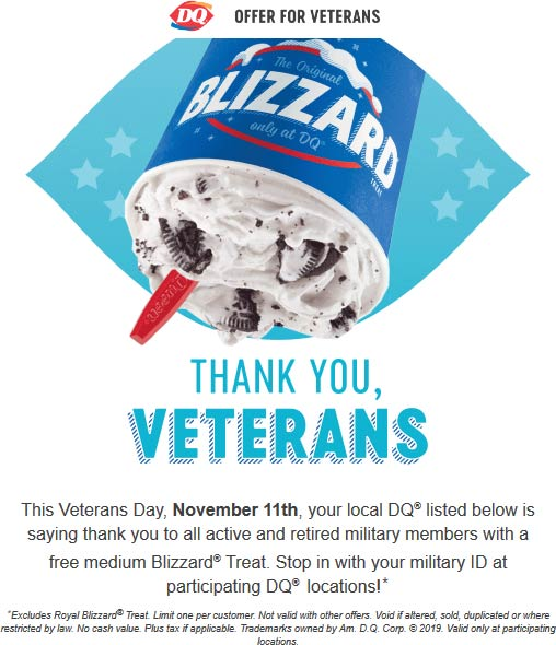 Dairy Queen Coupon November 2019 Military ID = free medium Blizzard Monday at Dairy Queen restaurants