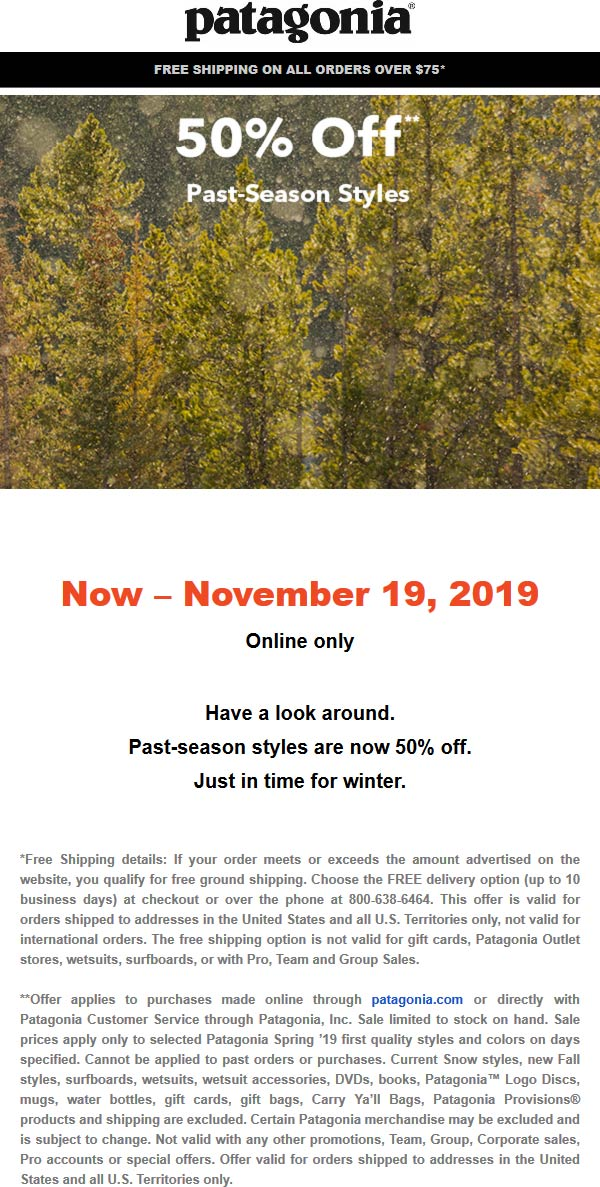 Patagonia Coupon January 2020 50% off past season styles online at Patagonia