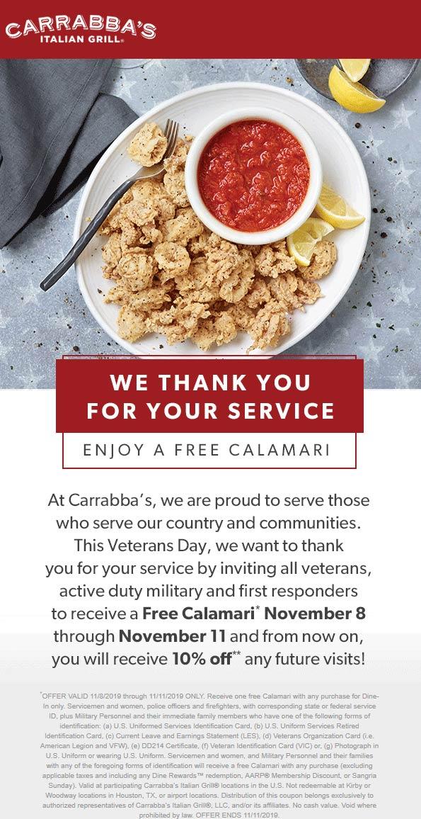 Carrabbas Coupon January 2020 First responders & military enjoy free Calamari this weekend at Carrabbas restaurants