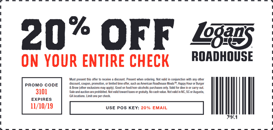 Logans Roadhouse Coupon January 2020 20% off at Logans Roadhouse restaurants