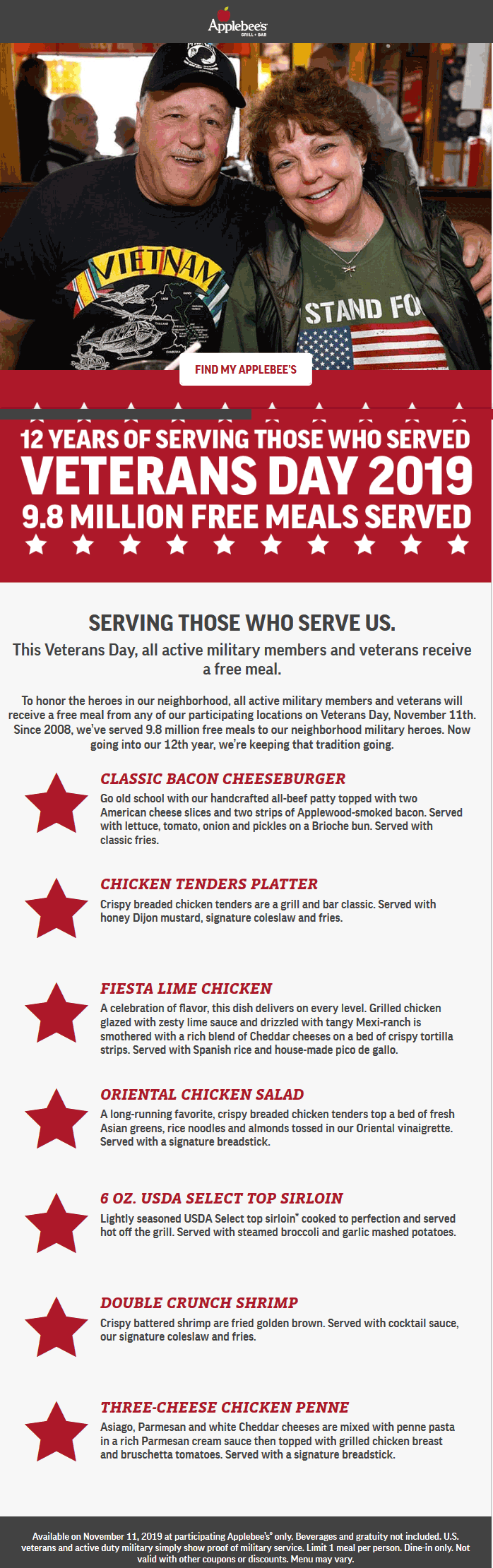 Applebees Coupon November 2019 Active and veterans enjoy a free meal Monday at Applebees