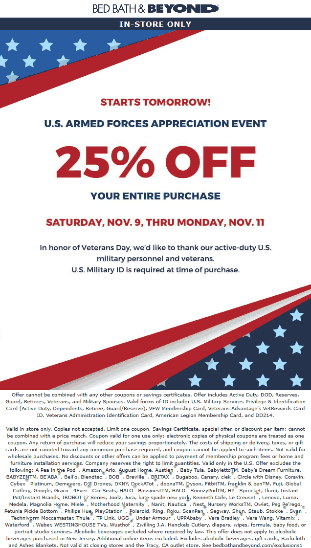 Bed Bath & Beyond Coupon November 2019 Military ID = 25% off everything at Bed Bath & Beyond