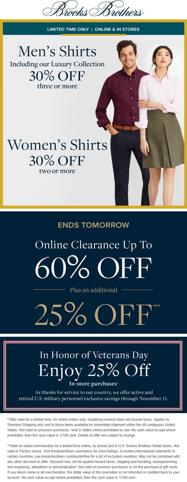 Brooks Brothers Coupon January 2020 30% off shirts & more at Brooks Brothers, ditto online