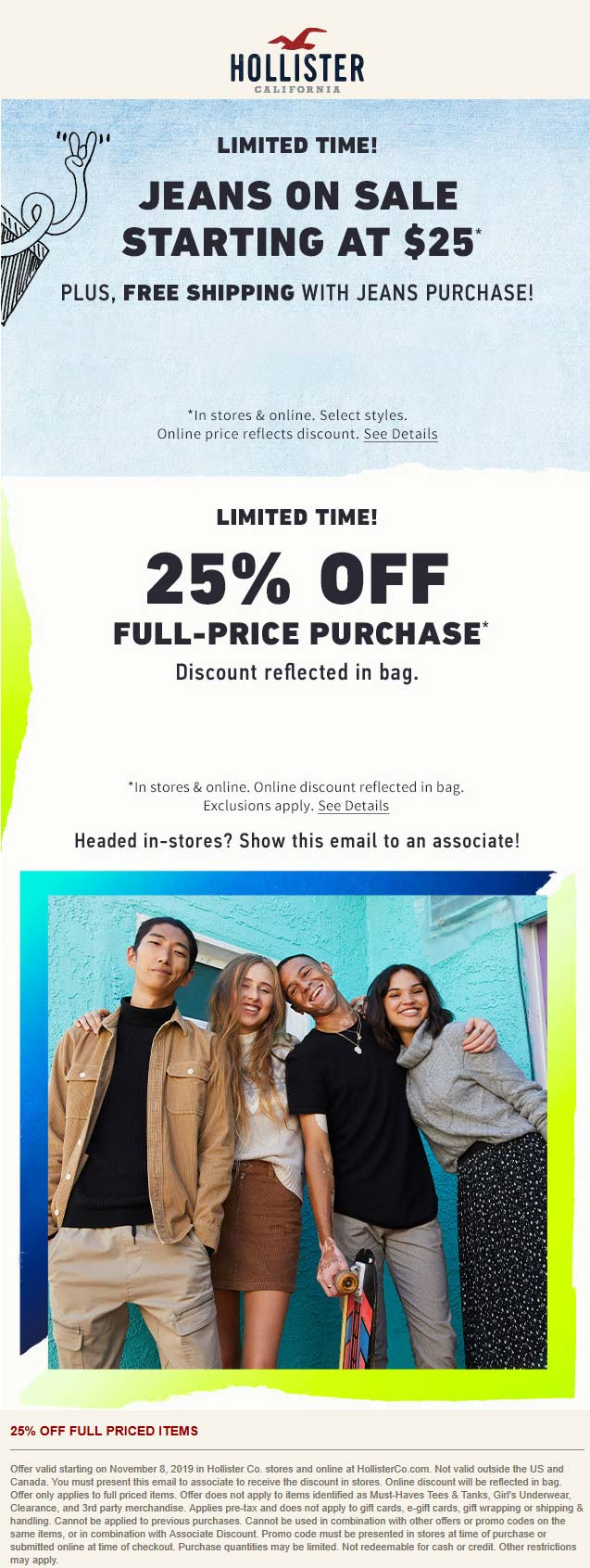 Hollister Coupon November 2019 25% off at Hollister, ditto online