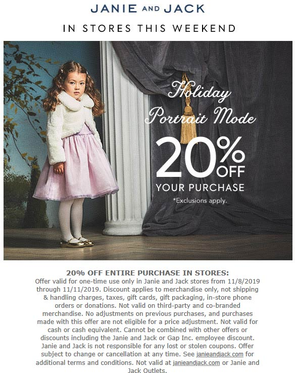 Janie and Jack Coupon November 2019 20% off at Janie and Jack
