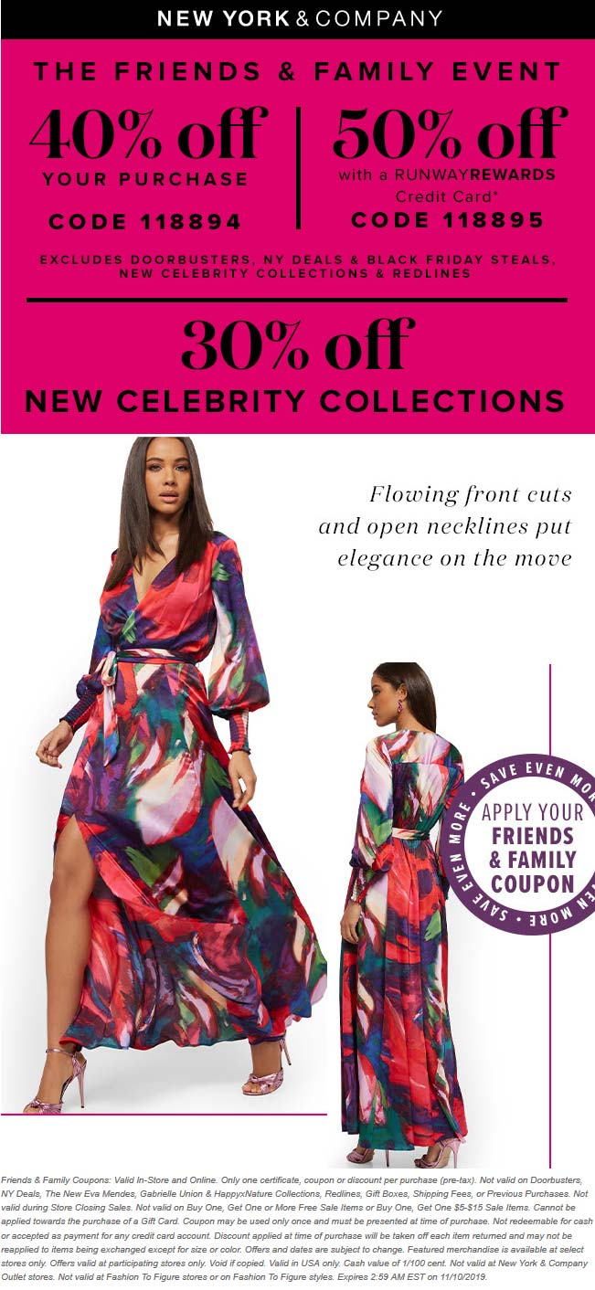 New York & Company Coupon November 2019 40% off today at New York & Company, or online via promo code 118894