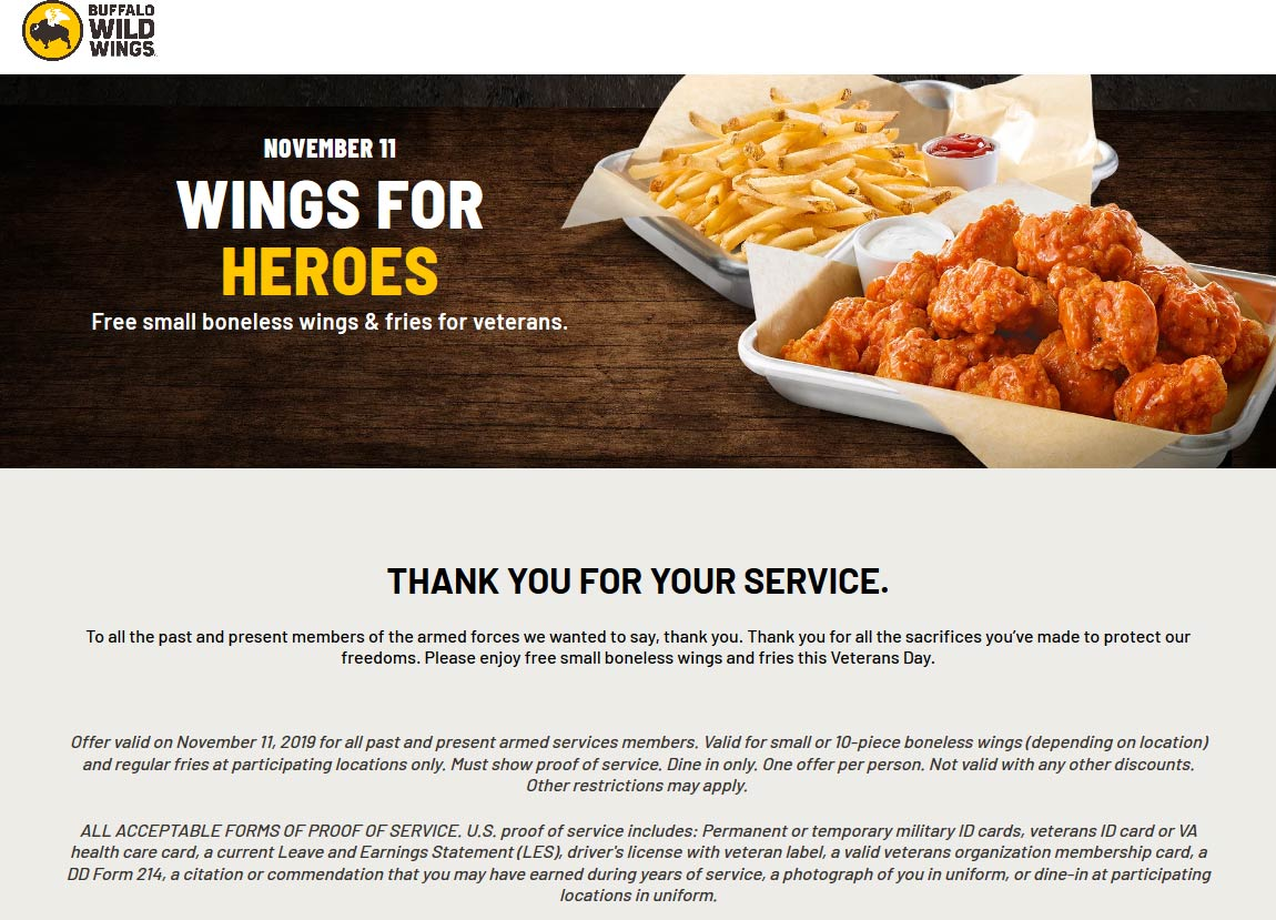 Buffalo Wild Wings Coupon November 2019 Veterans enjoy free wings and fries Monday at Buffalo Wild Wings restaurants