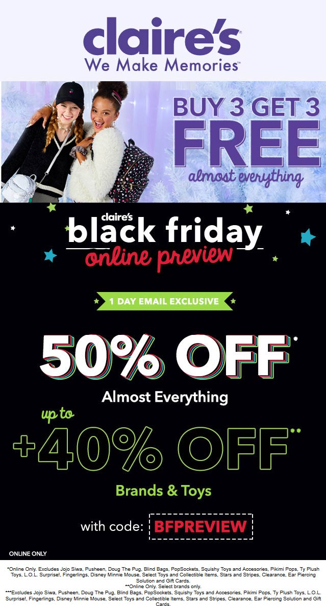 Claires Coupon November 2019 50% off online at Claires via promo code BFPREVIEW