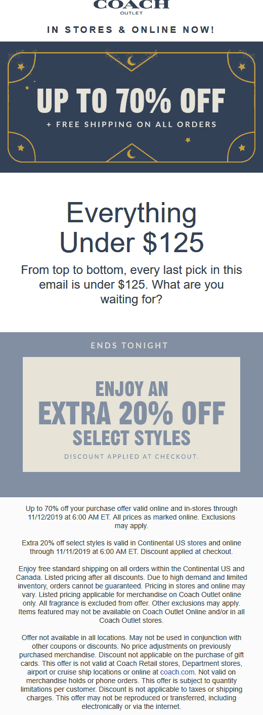 Coach Outlet Coupon January 2020 20-70% off everything at Coach Outlet, ditto online