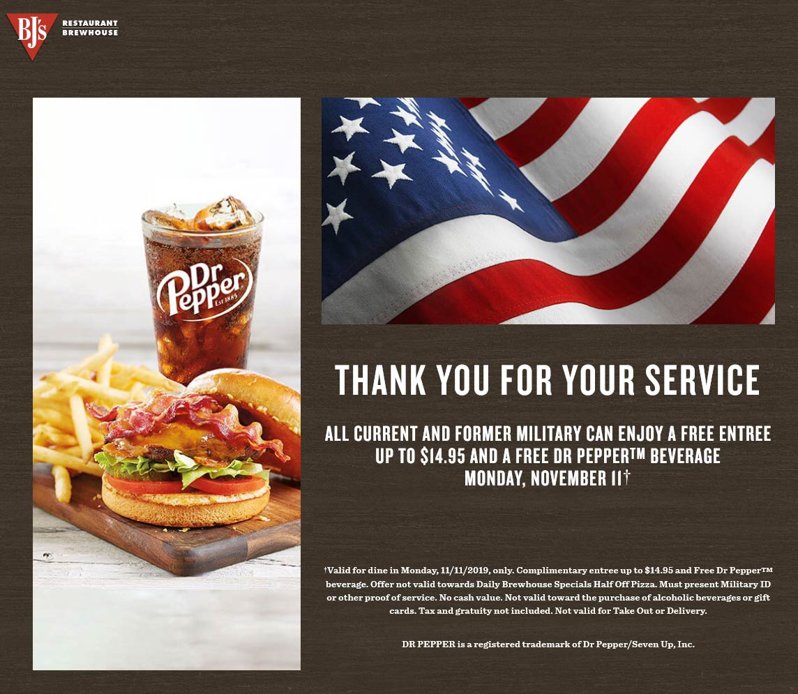 BJs Restaurant Coupon January 2020 Military enjoy a free meal today at BJs Restaurant