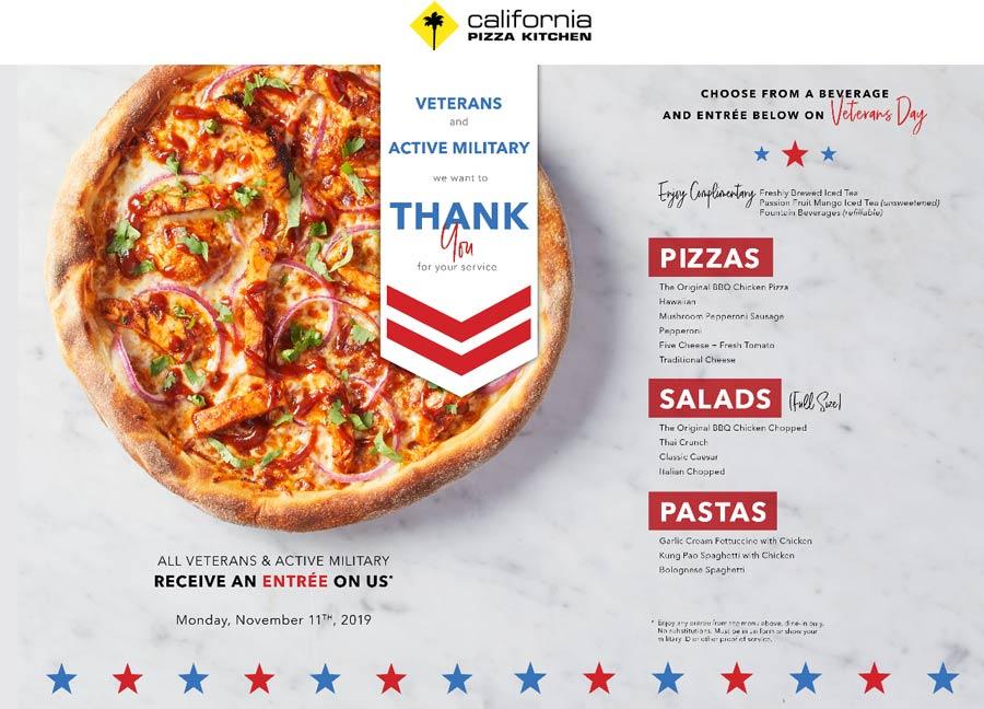 California Pizza Kitchen Coupon January 2020 Free meal for vets today at California Pizza Kitchen