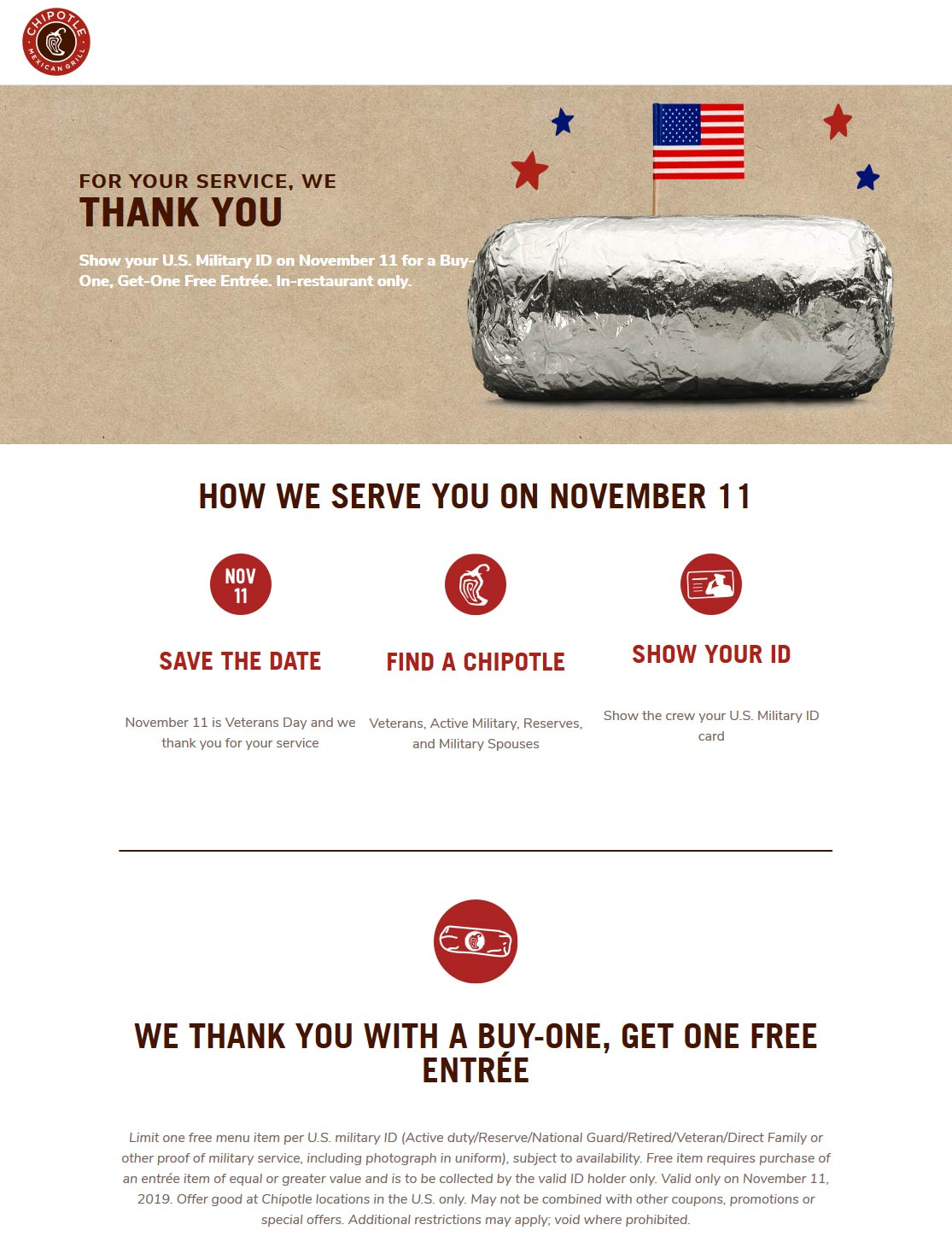 Chipotle Coupon January 2020 Military ID = second entree free today at Chipotle