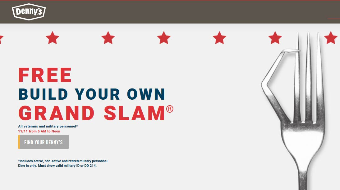 Dennys Coupon January 2020 Free grand slam for military & retired til noon today at Dennys