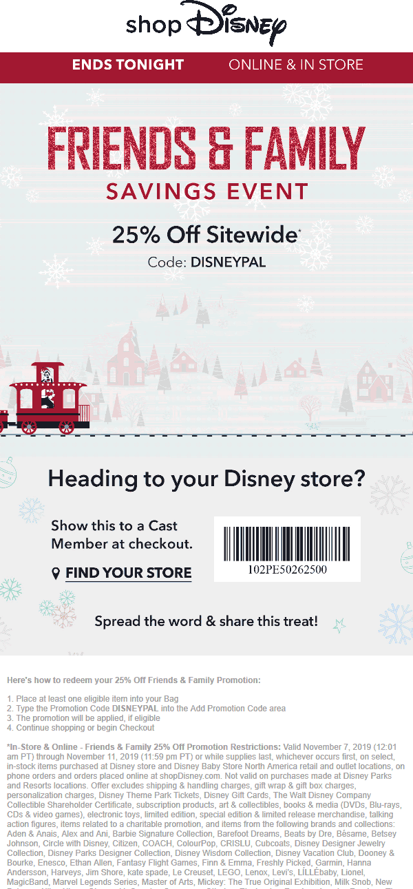 Disney Store Coupon December 2019 25% off today at Disney Store, or online via promo code DISNEYPAL