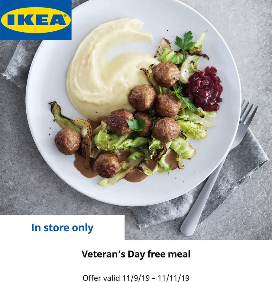 IKEA Coupon December 2019 Free meal for veterans today at IKEA