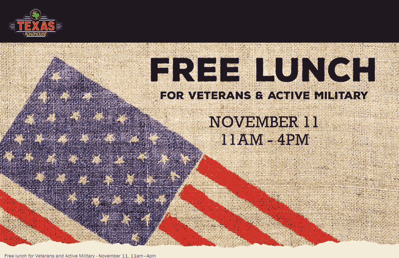 Texas Roadhouse Coupon December 2019 Military enjoy a free lunch today at Texas Roadhouse