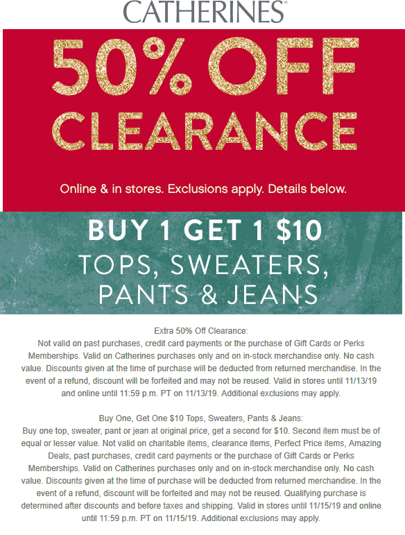 Catherines Coupon January 2020 50% off clearance at Catherines, ditto online