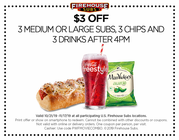 Firehouse Subs Coupon December 2019 Few bucks off a few meals after 4p at Firehouse Subs