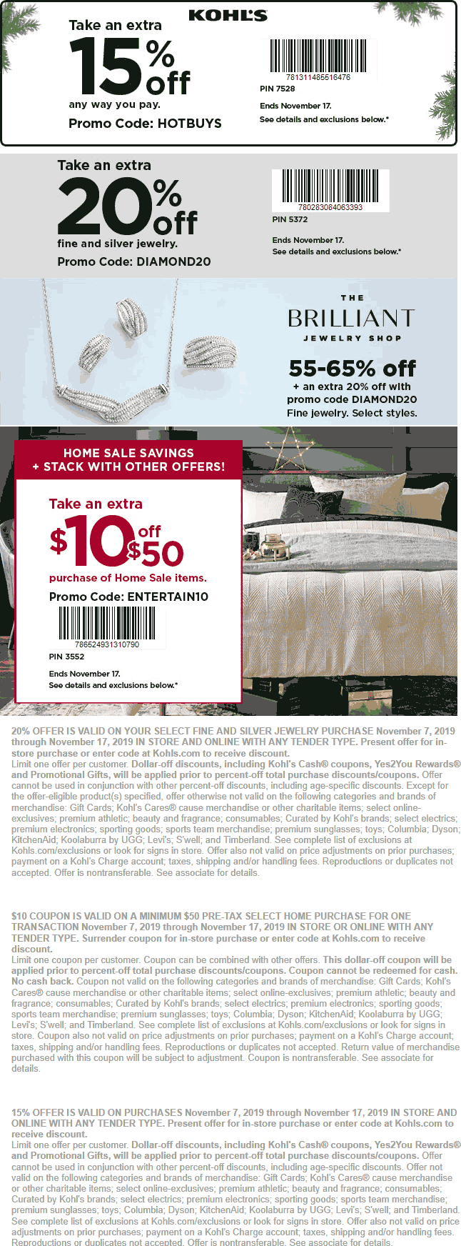 Kohls Coupon December 2019 15% off & more at Kohls, or online via promo code HOTBUYS