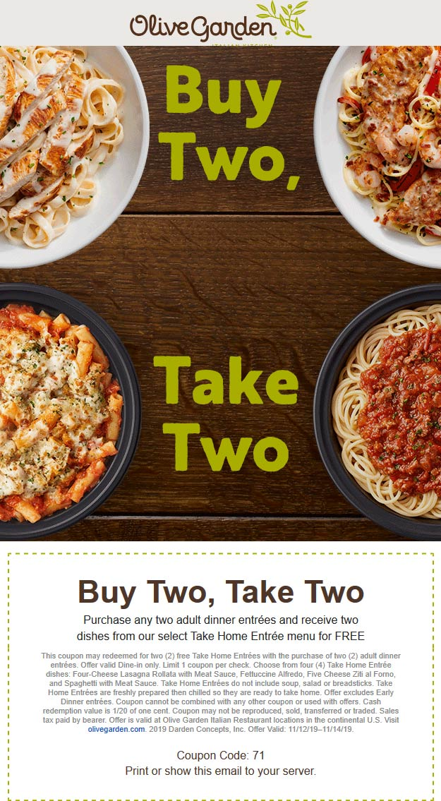 Olive Garden Coupon January 2020 2 free takeout entrees with your dine-in at Olive Garden